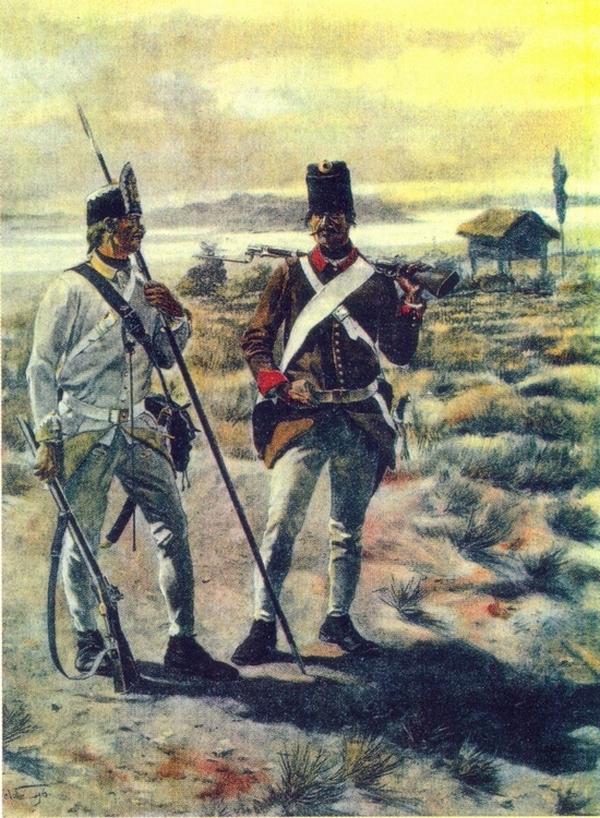Пешак и стрелац на граници 1700-1798